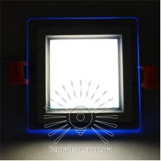LED панель Сияние Lemanso 9W 720Lm 4500K + синий 85-265V / LM1039 квадрат + стекло