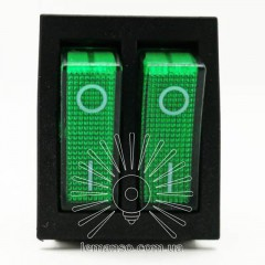 Переключатель  Lemanso  LSW04 двойной зелёный с подсветкой / KCD2-2101N