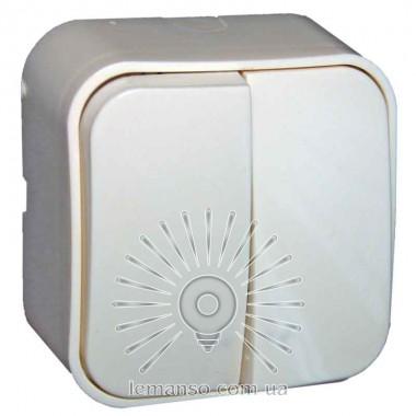 Выключатель накладной 2-й  + подсветка  LEMANSO Нота белый  LMR2310 описание, отзывы, характеристики
