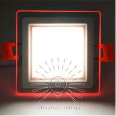 LED панель Сяйво Lemanso 9W 720Lm 4500K + красный 85-265V / LM1039 квадрат + стекло