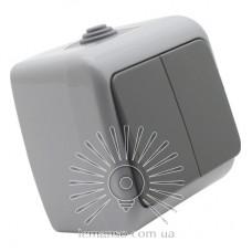 Выключатель накладной 2-й IP54 LEMANSO Немо серый LMR2402