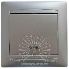 Выключатель 1-й + LED подсветка  LEMANSO Сакура серебро  LMR1304