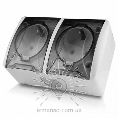 Розетка накладная 2-я с зазем.+прозрачные крышки LEMANSO Магнолия белая  LMR2008 описание, отзывы, характеристики