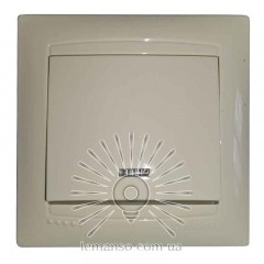 Выключатель 1-й + LED подсветка LEMANSO Сакура крем  LMR1104