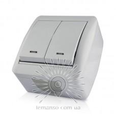 Выключатель накладной 2-й  + LED подсветка  LEMANSO Магнолия белый  LMR2010