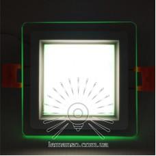 LED панель Сяйво Lemanso 9W 720Lm 4500K + зеленый 85-265V / LM1039 квадрат + стекло