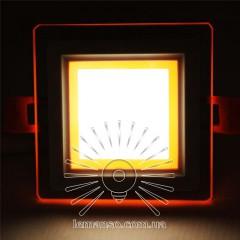 LED панель Сяйво Lemanso 9W 720Lm 4500K + оранж. 85-265V / LM1039 квадрат + стекло