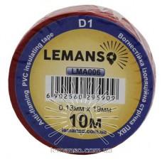 Изолента Lemanso Стандарт 10 метров красная / LMA006 (10шт.)