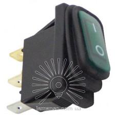 Переключатель Lemanso LSW36 3PIN зелёный с фикс. и с подсв. IP45 ON-OFF / KCD3-101NW 15A 250VAC