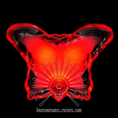 Ночник Lemanso Бабочка красный 3 LED / NL5 описание, отзывы, характеристики