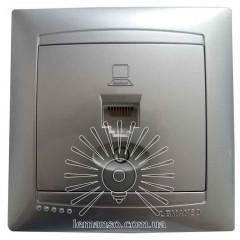 Розетка компьютерная 1-я LEMANSO Сакура серебро LMR1328