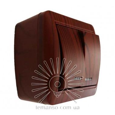 Выключатель накладной 2-й  + LED подсветка  LEMANSO Магнолия вишня  LMR2210 описание, отзывы, характеристики