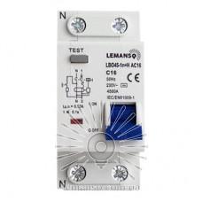 Диференціальний автомат Lemanso 4.5KA 1п + н 32A 30mA RCBO LBO45