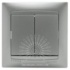 Выключатель 2-й проходной LEMANSO Сакура серебро LMR1306