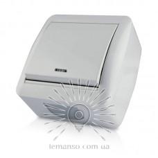 Выключатель накладной 1-й  + LED подсветка LEMANSO Магнолия белый  LMR2009