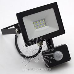 Прожектор LED 10w 6500K IP65 800LM LEMANSO 175-265V с датчиком чёрный/ LMPS17