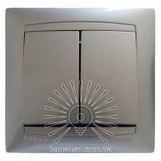 Выключатель 2-й LEMANSO Сакура серебро                           LMR1305