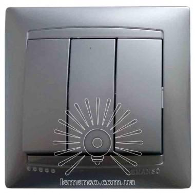 Выключатель 3-й LEMANSO Сакура серебро LMR1308 описание, отзывы, характеристики