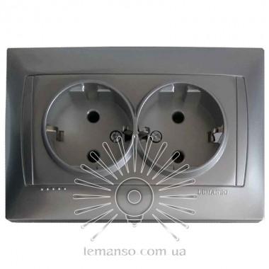 Розетка  керамика 2-я с заземлением LEMANSO Сакура серебро  LMR1318 описание, отзывы, характеристики