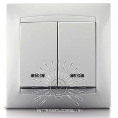 Выключатель 2-й + LED подсветка  LEMANSO Сакура белый   LMR1007