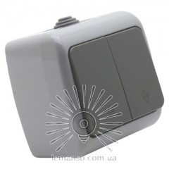 Выключатель накладной 2-й проходной LEMANSO Немо серый LMR2405