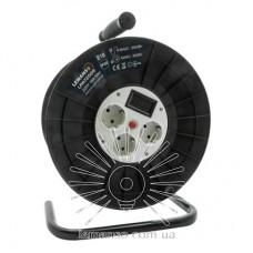 Катушка до 50м кабеля 4 гнезда 16A с/з Lemanso / LMK72009 защита от перегрузки, с цифр. вольтметром
