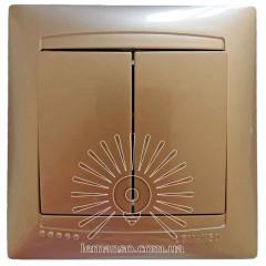 Выключатель 2-й LEMANSO Сакура золото  LMR1205