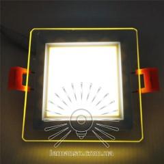 LED панель Сияние Lemanso 9W 720Lm 4500K + жёлтый 85-265V / LM1039 квадрат + стекло