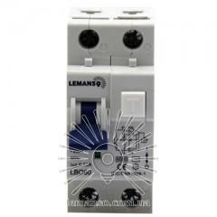 Дифферанциальный автомат Lemanso 6.0KA 1п+н 25A 30mA RCBO LBO60