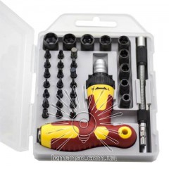 Bits and sockets set with reversible ratchet 33шт. LEMANSO LTL10036