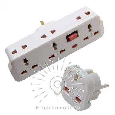 Переходник - адаптер Lemanso с индикатором, кнопкой, 3+3 гнезда / LMA7308 описание, отзывы, характеристики