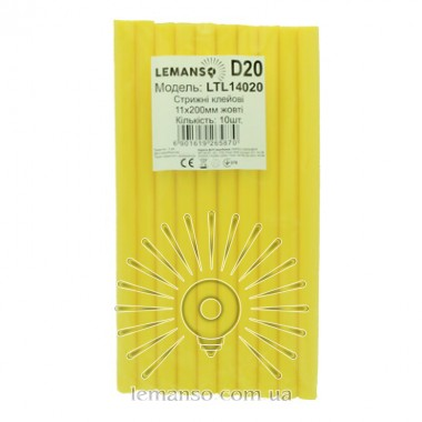 Стержни клеевые 10шт пачка (цена за пачку) Lemanso 11x200мм жёлтые LTL14020 описание, отзывы, характеристики