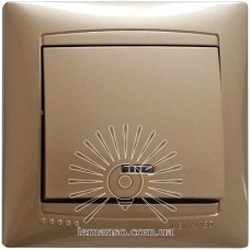 Выключатель 1-й + LED подсветка  LEMANSO Сакура золото  LMR1204