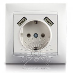 Розетка 1-я с заземлением + гнезда 2 USB LEMANSO Сакура белая  LMR1039