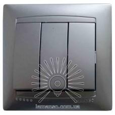 Выключатель 3-й LEMANSO Сакура серебро                 LMR1308