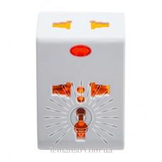 Переходник - адаптер Lemanso с индикатором белый+оранжевый  / LMA7303