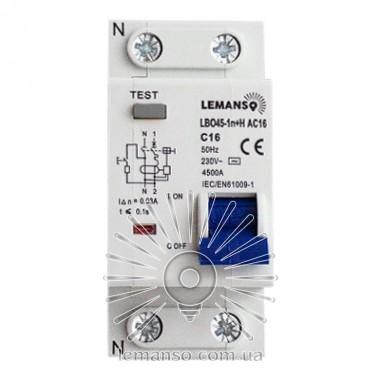 Дифференциальный автомат Lemanso 4.5KA 1п+н 16A 30mA RCBO LBO45 описание, отзывы, характеристики