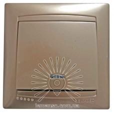 Выключатель 1-й проходной + LED подсветка LEMANSO Сакура золото LMR120