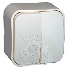 Выключатель накладной 2-й  + подсветка  LEMANSO Нота белый  LMR2310