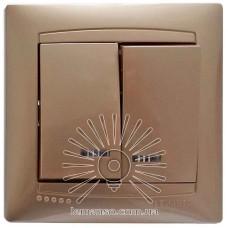 Выключатель 2-й + LED подсветка  LEMANSO Сакура золото   LMR1207