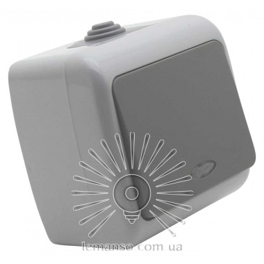 Выключатель накладной 1-й + подсветка IP54 LEMANSO Немо серый LMR2403 описание, отзывы, характеристики