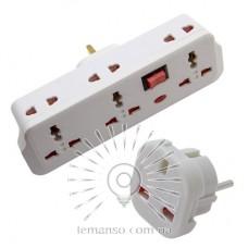 Переходник - адаптер Lemanso с индикатором, кнопкой, 3+3 гнезда / LMA7308