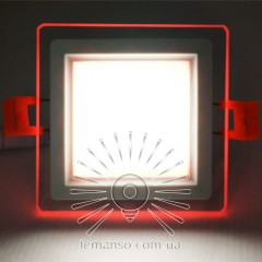 LED панель Сияние Lemanso 9W 720Lm 4500K + красный 85-265V / LM1039 квадрат + стекло