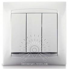 Выключатель 3-й LEMANSO Сакура белый LMR1008