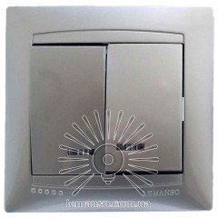 Выключатель 2-й + LED подсветка  LEMANSO Сакура серебро   LMR1307