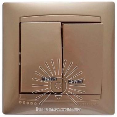 Выключатель 2-й + LED подсветка  LEMANSO Сакура золото   LMR1207 описание, отзывы, характеристики