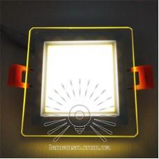 LED панель Сяйво Lemanso 9W 720Lm 4500K + жёлтый 85-265V / LM1039 квадрат + стекло