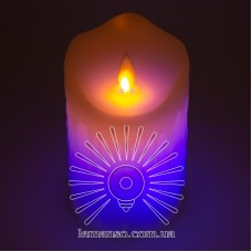 Свеча LED Lemanso 75*125мм RGB 3xAAA (нет в компл.) IP20 / LM36007 (+пульт, еф. пламя)