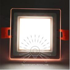 LED панель Сияние Lemanso 9W 720Lm 4500K + розовый 85-265V / LM1039 квадрат + стекло