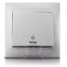 Выключатель 1-й проходной + LED подсветка  LEMANSO Сакура белый  LMR1003